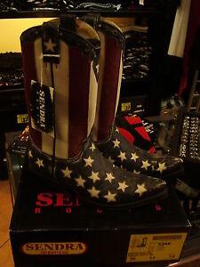 Stivali-Boots-Texani-SENDRA-bandiera-USA-FLAG-vera-pelle-suola-cuoio-ULTIMI