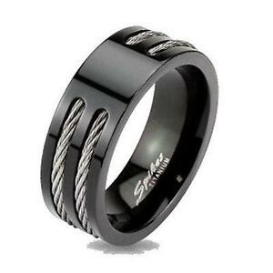 black ip titanium mens rope cable inlay wedding band ring