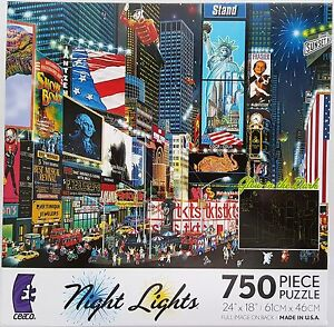 CEACO® 750pc NIGHT LIGHTS • TIMES SQUARE PARADE • PUZZLES Jig Saw USA MADE