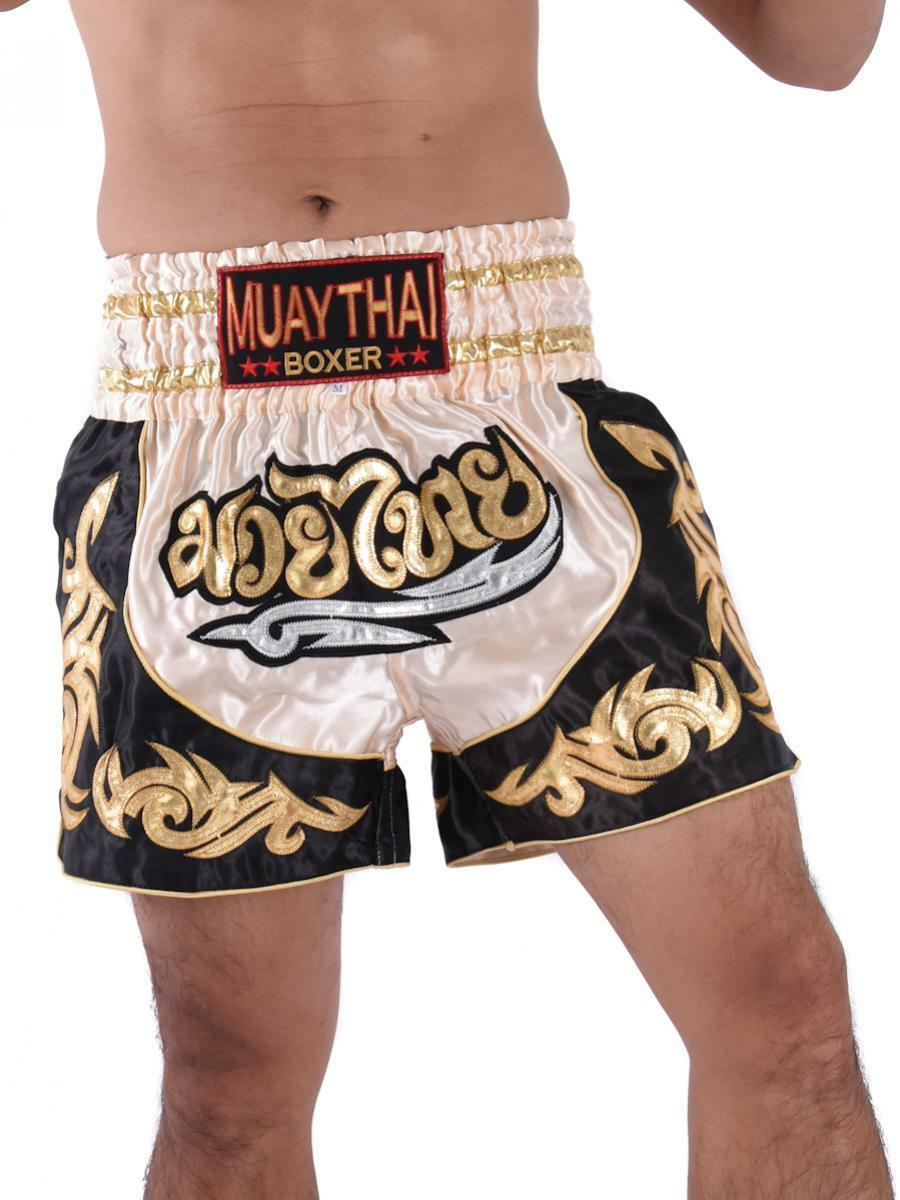 New Adults Men Women Muay Thai Pants Kick Boxing Trunks Satin M-XXXL Black Redst