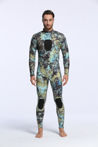 3mm Camouflage Men Full Wetsuit Spearfishing Scuba Snorkeling Diving Back Zipper