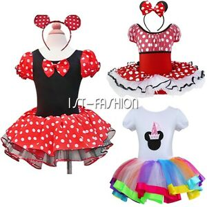Costume-Souris-de-Minnie-Deguisement-enfant-fille-Fancy-Dress-Tutu-Serre-tete