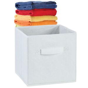 Blanc Salle de Bain Serviette Visage Drap Flanelle Tidy Organisateur Stockage Panier box 30 cm