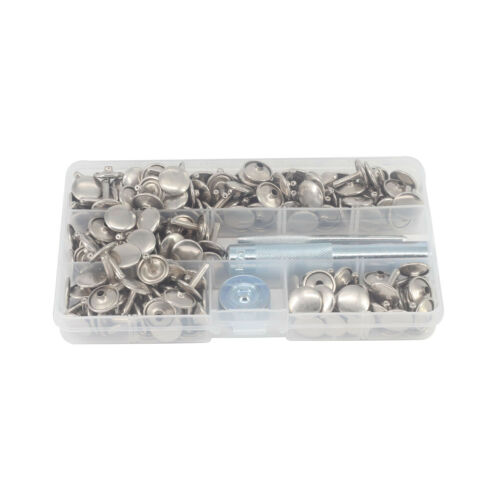 100pcs Double Cap Silver Brass Rivets with 3pcs Hand Tool Set for Leather Craft