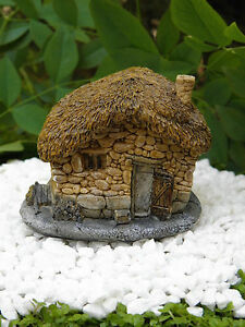 Miniature dollhouse fairy garden small thatched roof stone house image is loading miniature dollhouse fairy garden small thatched roof stone workwithnaturefo