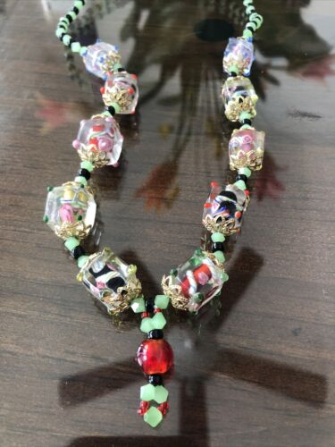 Vintage Colorful Glass Flower Swirl Beaded Necklac