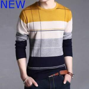 Jumper Mens Knit Shirt T-Shirt Casual Knitted Knitwear Sweater Tops Slim