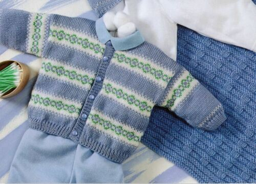 Pull /& Couverture Set 145 Knitting Pattern Baby/'s Fair Isle Cardigan