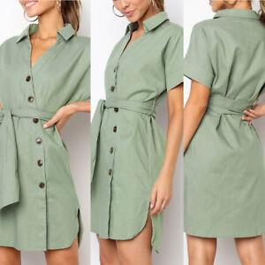 Women Sexy Buttons Short Sleeve Solid Waist Belt Dress Princess Dress Fashion