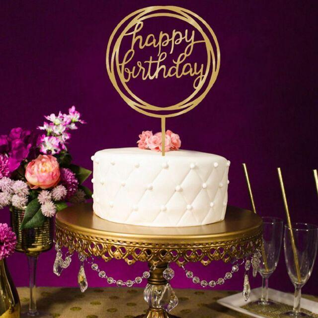Cake Wedding Happy Birthday Topper Card Acrylic Party Decoration P3M9