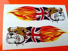 Britannico Bulldog Union Jack FIAMME AUTO MOTO ADESIVI DECALCOMANIE 2 OFF 100mm