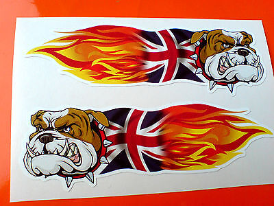 BRITISH BULLDOG UNION JACK FLAMES Car Motorcycle Stickers Decals 2 off 100mm