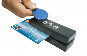 Magnetic strip contact less reader card
