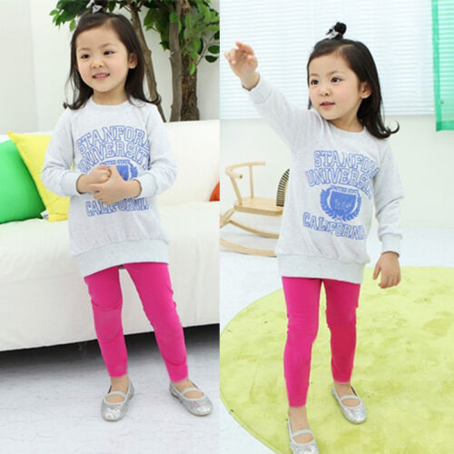 Girls Kids Winter Warm Thick Fleece Thermal Leggings Stretch Trousers Pants 1-7Y