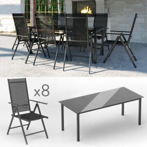 Détails sur Salon de jardin lot de 8 + 1 canapé salon de jardin fauteuil  pliant aluminium