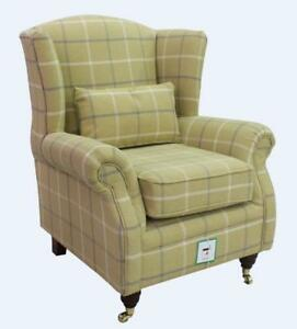 Ashley-Wing-Chair-Fireside-High-Back-Armchair-Piazza-Square-Check-Green