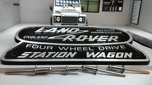 Land-Rover-Defender-patrimoine-OEM-cast-station-wagon-badge-Solihull-332670-306407