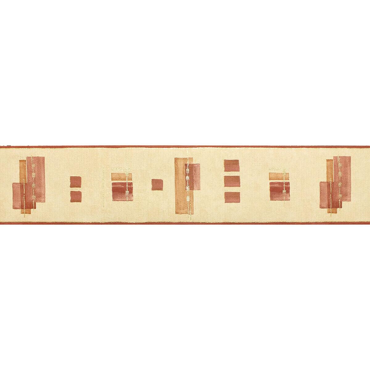 13.2cm wide 5m long Red Textured Vinyl Wallpaper Border Modern Block Design