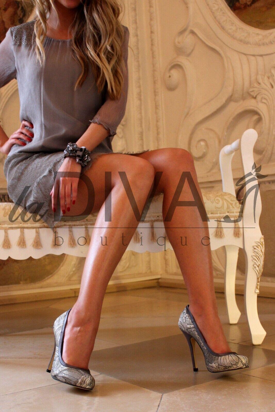 Menbur  Lurex Pumps Elegant Jacquard Design 38 Silver Grey% Sale% Ovp
