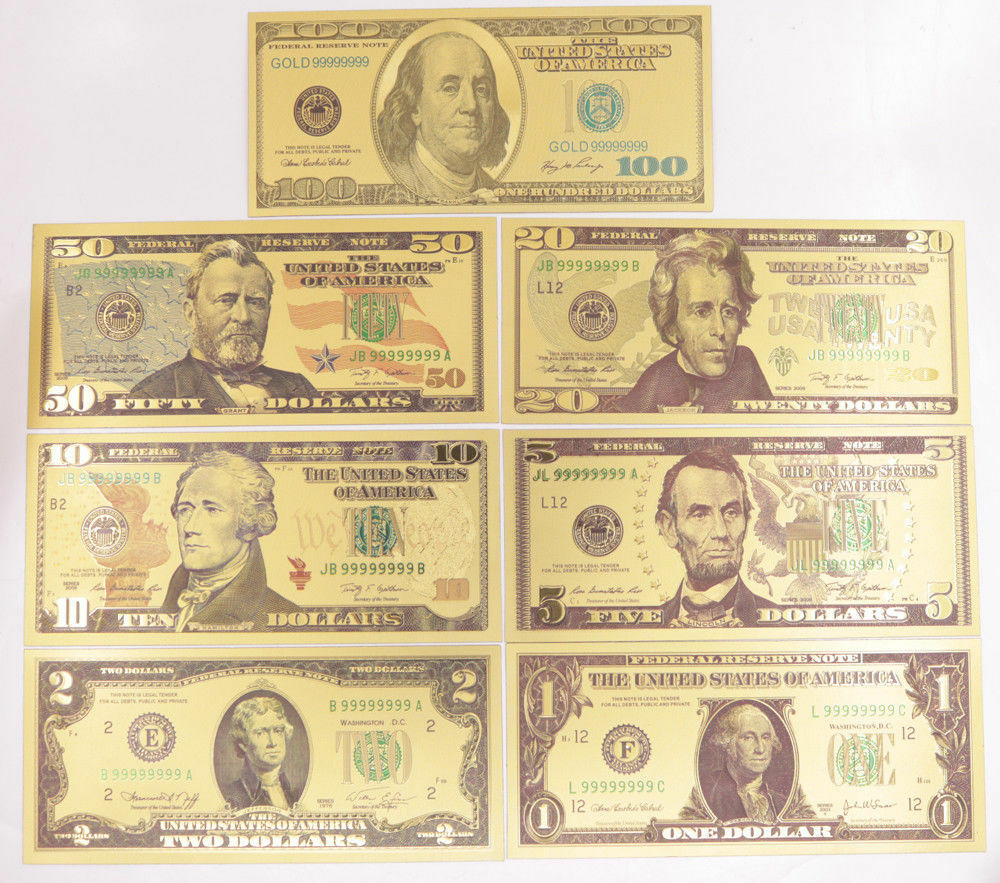 New 1 Set 7 Pcs $1-$100 US Dollar Paper Money Banknote Color Gold Bill Crafts
