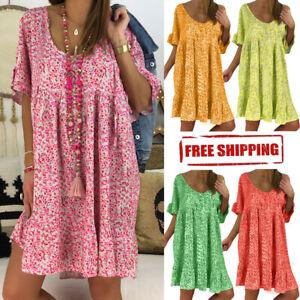 2019-Summer-Women-Ladies-Loose-Casual-Print-Hlaf-Sleeve-Ruffles-Mini-Dress-S-5XL