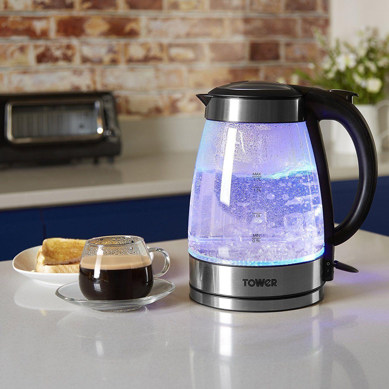 Electric Tower Kettle T10018 LED Illuminating Glass 1.7 L Cordless Fast Boil Jug