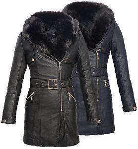 Lang D73d57 Mantel Mit Zu Kunstleder Jacke Damen Damenjacke Leder Details Kapuze Schwarz dCoerxBQW