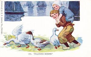 Antique-1907-Postcard-J-I-Austen-Co-371-Playing-Horse-Geese-Children-A21