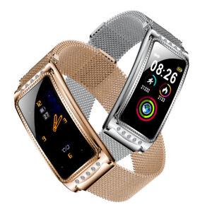 Damen Smartwatch Premium Bluetooth Uhr HD Display Herzfrequenz Blutdruck iOS IPX