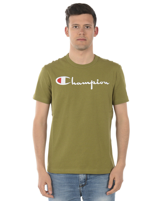 Champion T Shirt Sweatshirt Cotton Man Grün 210972 GS543 Sz. S PUT OFFER