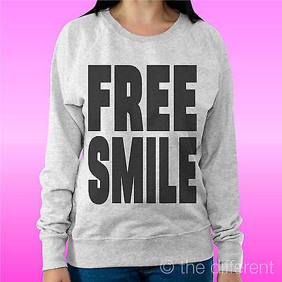 """Cooperativa Felpa Donna Leggera Sweater Grigio Chiaro """" Free Smile """" Road To Happiness Ricambio Senza Costi A Qualsiasi Costo"""