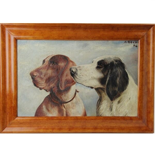 A Zola Two Hound Dogs Painting Oil On Panel 1894