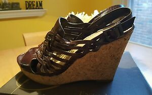Brown-Leather-Sandals-ENZO-ANGIOLINI-Wedge-Cork-Heels-Huarache-8-5M-EUC