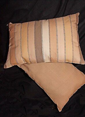 Brown and Tan Striped Oblong//Rectangle Cotton Blend Pillow