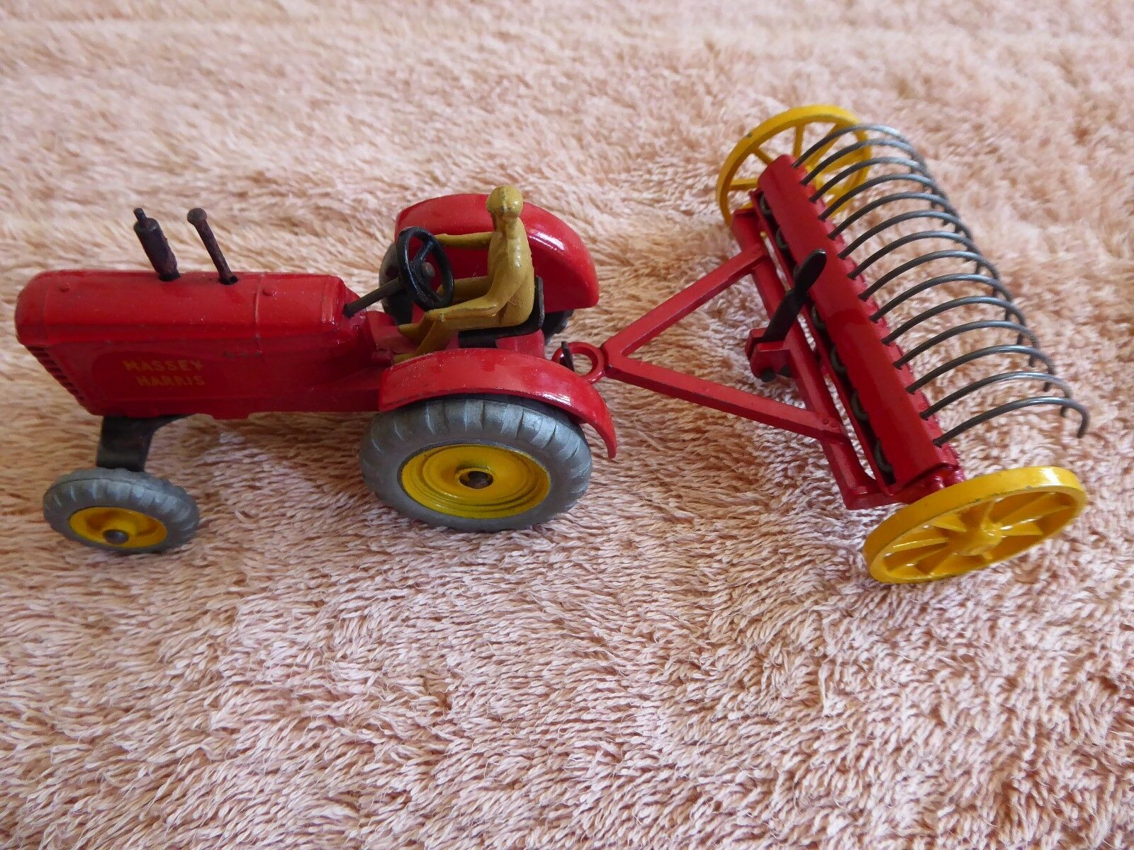 MASSEY HARRIS TRACTOR & HAY RAKE - DINKY TOYS 300 & 324 - BOXED - EXCELLENT