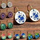 Elegant Round Vintage Women Crystal Flower Hoop Earrings Pierced Studs Jewelry