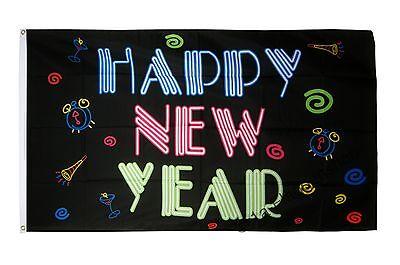 Fahne Flagge Happy New Year Neon - 90 x 150 cm Hissflagge