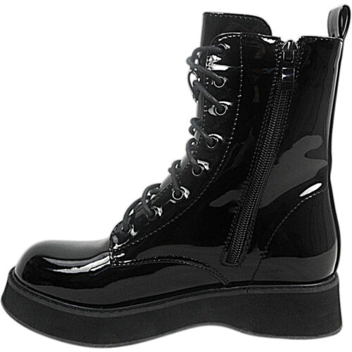 WOMENS LADIES LOW WEDGE PLATFORM WEDGE CHUNKY SOLE LACE UP ANKLE BOOTS SIZE GOTH