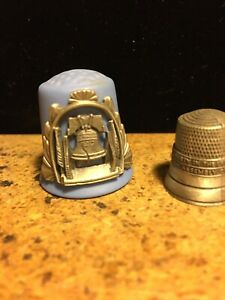VINTAGE THIMBLE BLUE HEIRLOOM EDITIONS and a PEWTER PATRIOTIC LIBERTY BELL