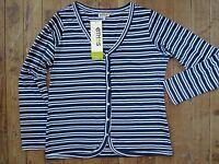 Ethos Paris Deauville Shirt Top Xl X-large Nuit Stripe 100% Organic Cotton