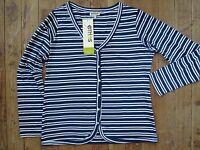 Ethos Paris Deauville Shirt Top Xl X-large Nuit Stripe 100% Organic Cotton