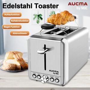 Toaster-2-Scheiben-Edelstahl-Broetchenaufsatz-Aufwaermfunktion-Kruemelschublade
