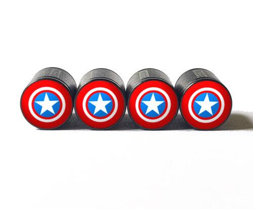 Black Aluminum Captain America Tire Valve Stem Caps Set of Four