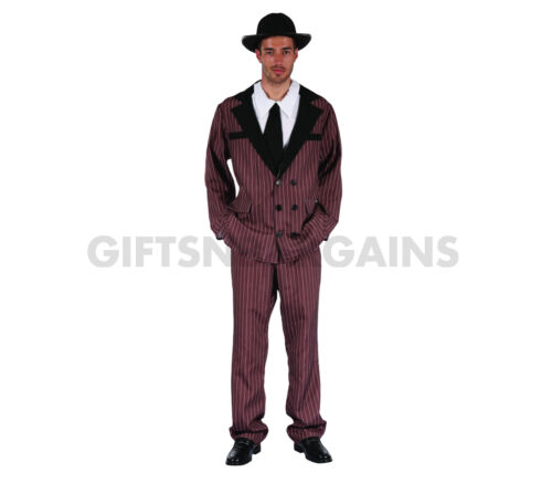 Steampunk Gangster 1920 Mobster Mafia Brown Suit Mens Costume Free Accessory Gun