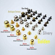 10pcs Solid Brass Round Head Stud Screwback Leather Bag Chicago Screw Nail Rivet