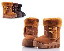 Camel Unisex Cute Zipper Faux Fur Boys Toddlers Kids Girls Winter Boots Size 12