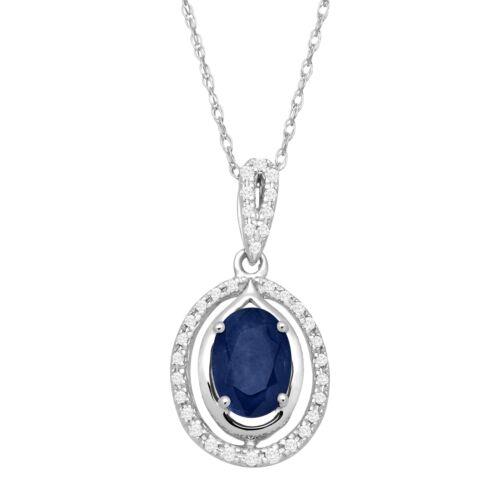 1 ct Natural Sapphire /& 1//10 ct Diamond Oval Pendant in 10K White Gold