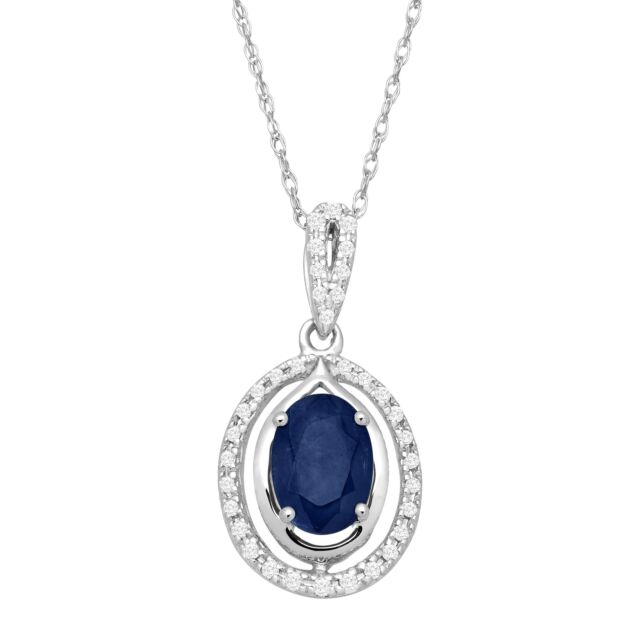 1 ct Natural Sapphire & 1/10 ct Diamond Oval Pendant in 10K White Gold