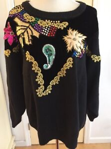 Bonnie-amp-Bill-by-Holly-Women-039-s-Ugly-Christmas-Sweater-Size-1X-Black