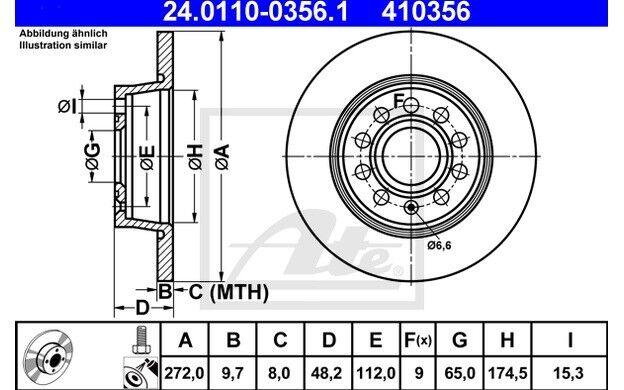 ATE Juego de 2 discos freno Trasero 272mm para RENAULT SCENIC SEAT
